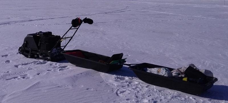 Рыболовные сани волокуши со снегоходом